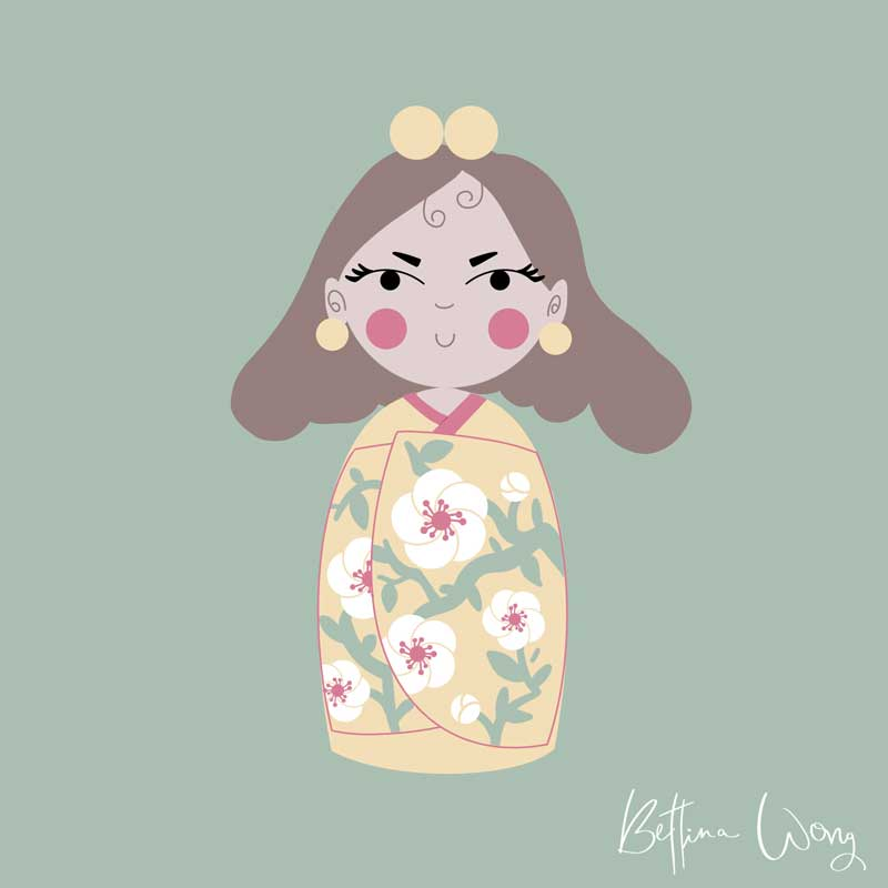 Digitale Illustration Kokeshi-Happy mit iPad Pro, Procreate, digital