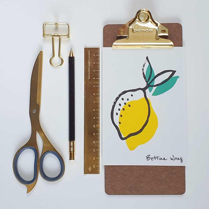 Mit Linolstempeln gedruckte Zitrone, Linolschnitt