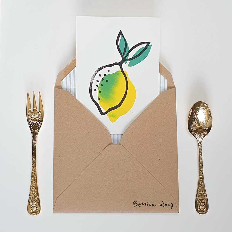 Mit Linolstempeln gedruckte Zitrone grün-gelb, Linolschnitt