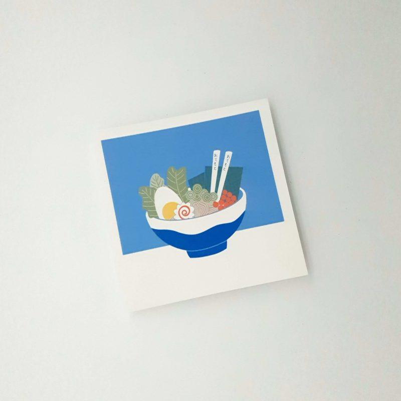 Postcard mit Ramen Illustration, gezeichnet mit Procreate am iPad, limitierte Farbpalette.